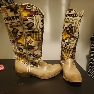 Southwestern Patterned Cowboy Boot